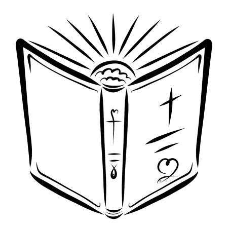 Open Bible and the rising sun, the light of the gospel