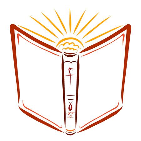 The Open Bible and the Rising Shining Sun