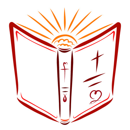 Open Bible and shining sun, holiness and faith