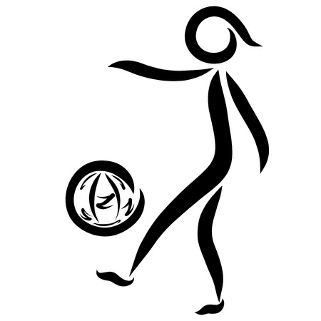 Man kicking the ball with black lines