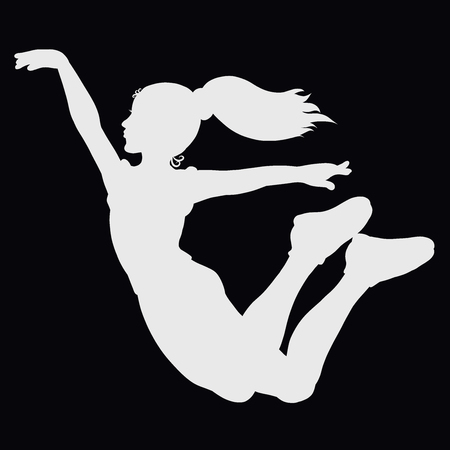 High jumping or flying girl, sport, silhouette Stock Photo