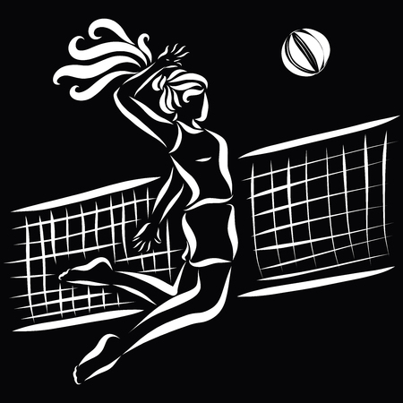 Girl playing volleyball, white sketch on a black background Stock Photo