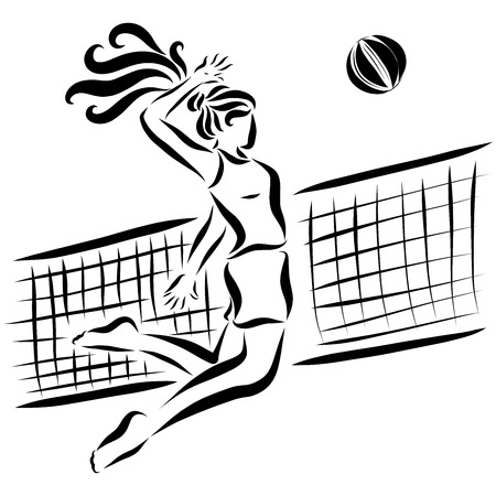Sports girl throws the ball through a volleyball net