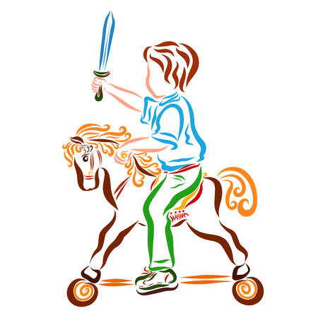 Warlike child with a sword, on a toy horse with wheels Stock fotó