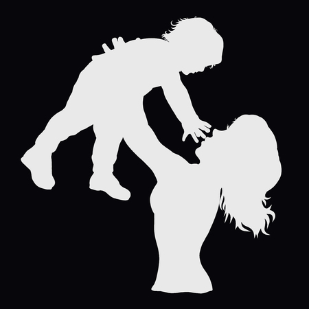 Mom plays with a small child, sports and joy