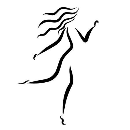 Running slender woman, several lines