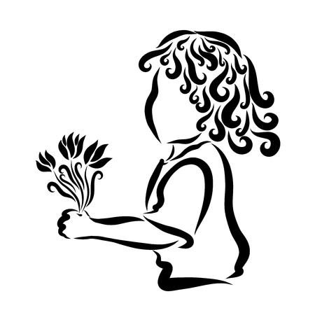 Bel enfant bouclé avec un bouquet de fleurs Banque d'images