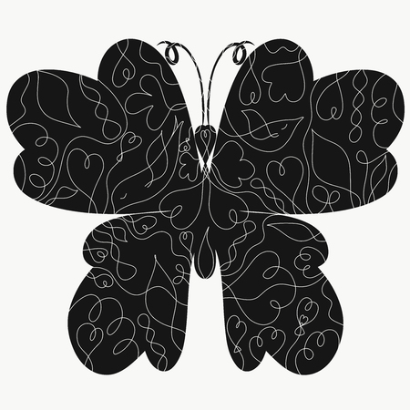 Black butterfly silhouette with intricate pattern Stockfoto