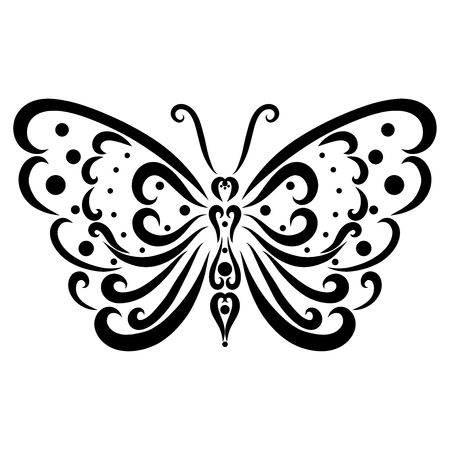 Beautiful patterned butterfly from black lines and dots Stockfoto