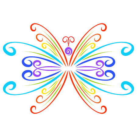 Graceful butterfly from curls of all colors of the rainbow Stockfoto