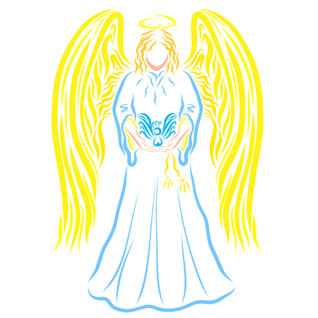 Angel with a bird in the hands, colorful pattern