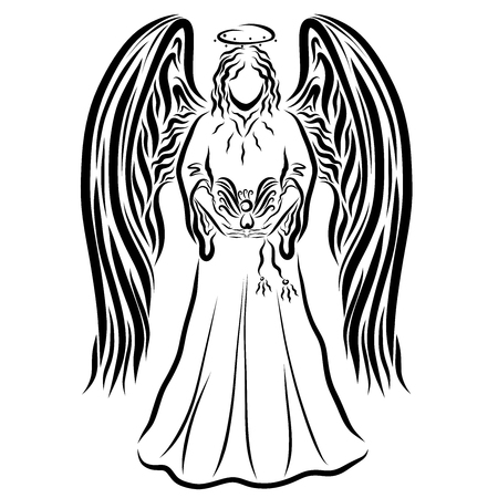 Beautiful tall angel with big wings, holding a bird Stock Photo