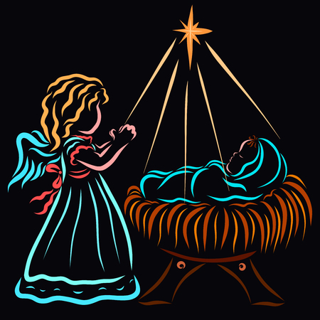 Baby Jesus, an angel and a star on a night background