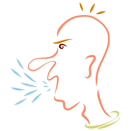 Angry screaming and spitting man, head, profile Stock Photo - 121117065