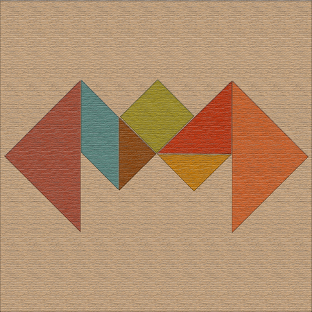 Crab laid out of geometric shapes, wood texture, tangram