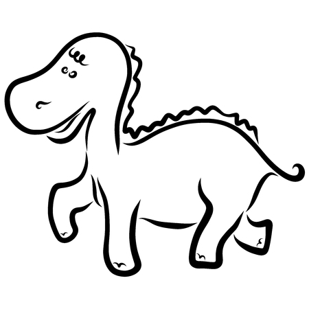 Funny little dinosaur, black outline, childrens coloring