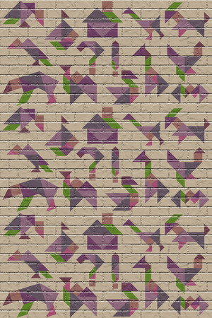 Wall with figures of puzzle tangram, background with texture
