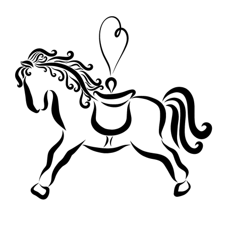 Little beautiful horse with a loop in the shape of a heart, toy 스톡 콘텐츠