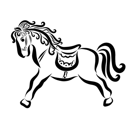 Pretty toy horse, black lines