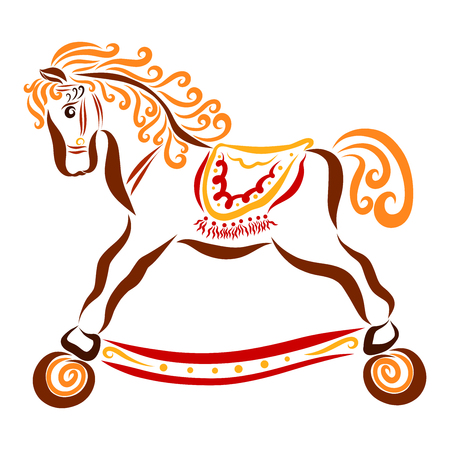 Charming childrens toy horse with wheels, colorful pattern