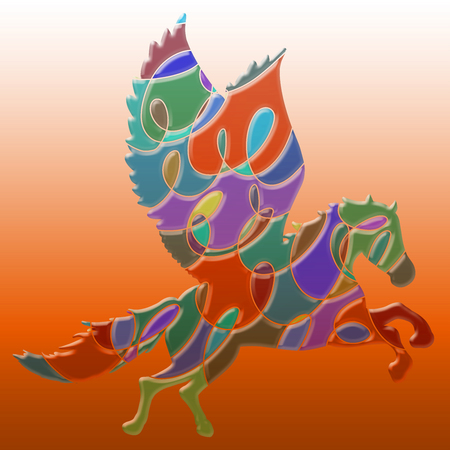 Winged horse with an intricate colorful pattern on a background with a gradient