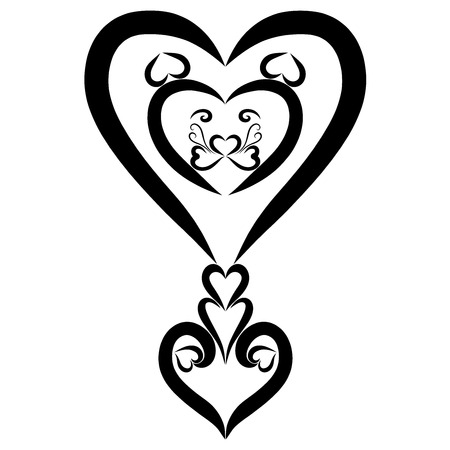 Figured exclamation mark from hearts with a lions head