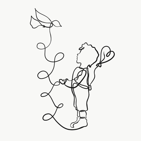 A boy, a bird and a balloon drawn by one line
