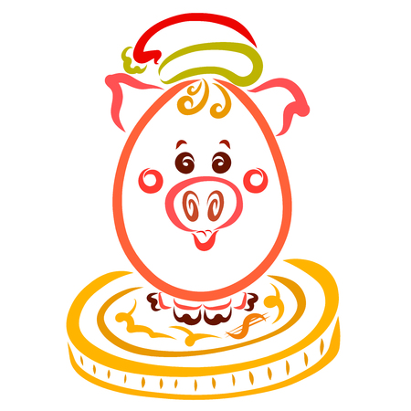 Oval piglet in a Christmas hat sits on a large coin