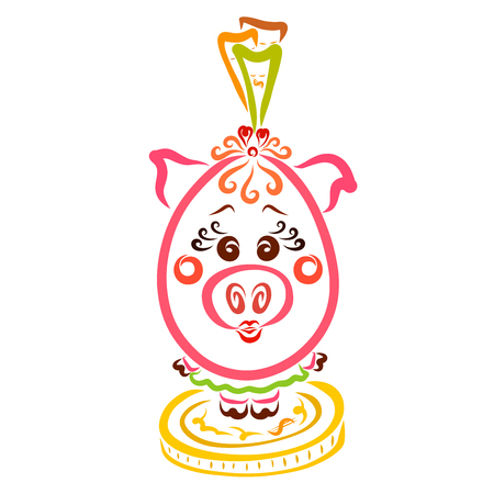 Cute piggy bank, a girl in a skirt and makeup, standing on a coin with bills