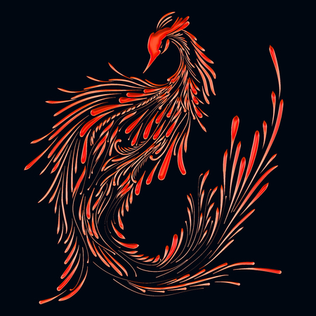 Fire bird on a black background, red phoenix, pattern