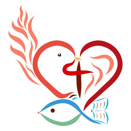 Christelijke symboliek, hart, kruis, duif, vis, vlam, Bijbel