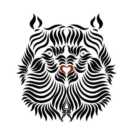 The head of a strong bear, drawn by smooth lines