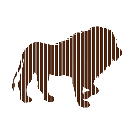A young strong lion drawn in straight lines Stock Photo