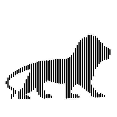 Lion, drawn in straight black lines, creative