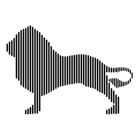 Lion drawn in straight lines Banco de Imagens