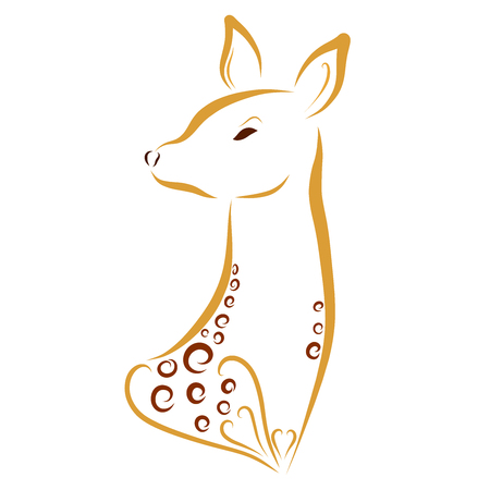 beautiful young deer with a pattern and hearts Stok Fotoğraf