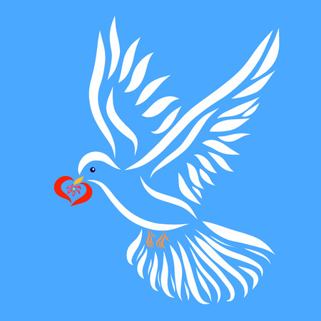 A flying white dove with a heart in its beak