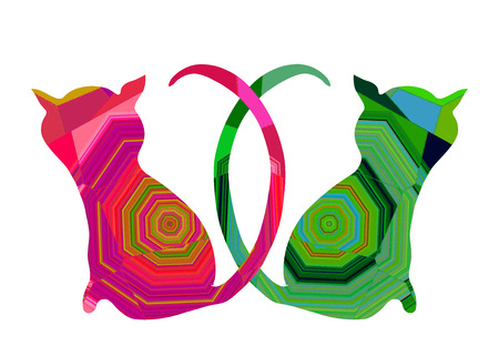 Two cats in love with colorful abstract pattern 스톡 콘텐츠