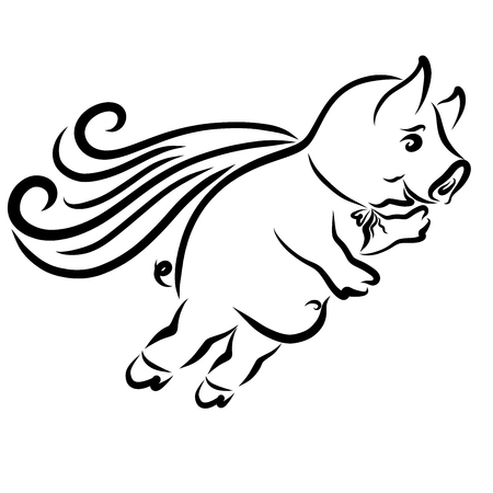 A merry pig in a cloak hurries to help, flight