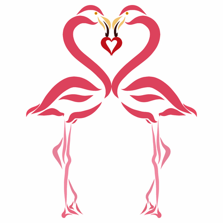 The loving flamingos keep the heart