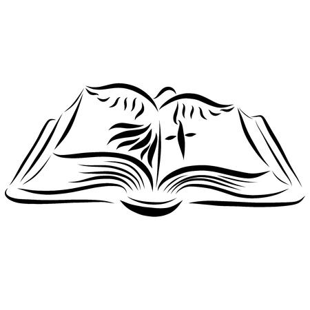 Open Bible, cross and bird
