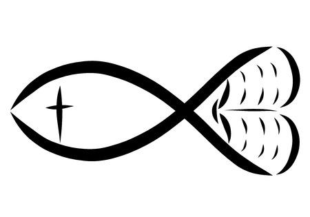 Fish, bible, cross and heart, Christian symbols