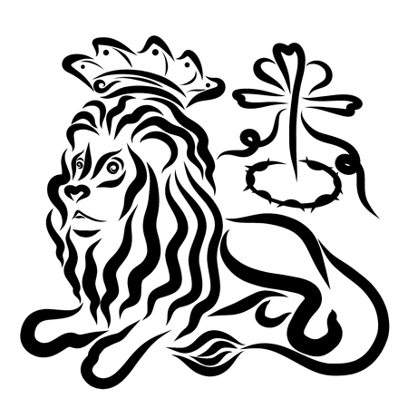 Royal lion in the crown, cross, crown of thorns and heart Standard-Bild - 121270428
