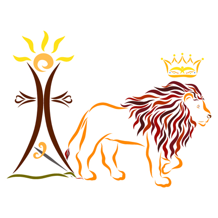 Majestic lion with a crown, a cross with the sun and a sword over a serpent Reklamní fotografie