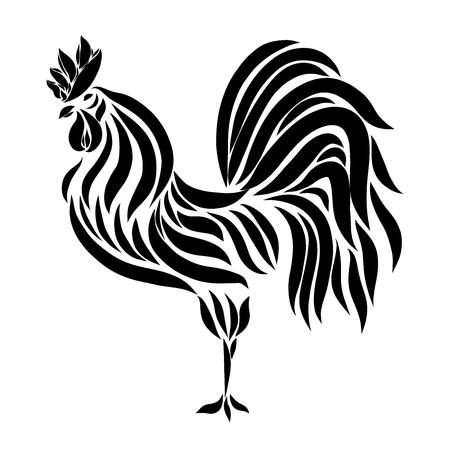 Magnificent cock, weathervane, black lines
