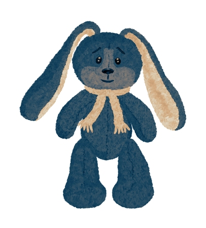 Funny vintage plush rabbit with long ears Banque d'images - 121362992