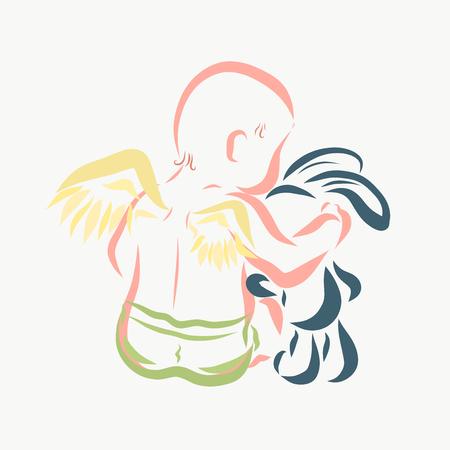 Newborn angel hugs a toy bunny Reklamní fotografie - 121363650