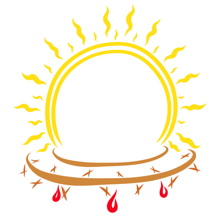 Frame in the form of a shining sun with a crown of thorns