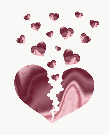 Broken silk heart in butterflies, giving a lot of love Stok Fotoğraf