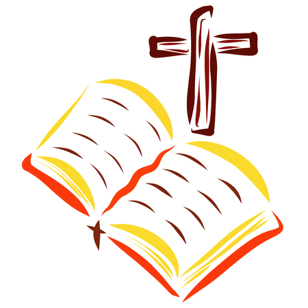 Open Bible and Cross, Christian Reading and Faith